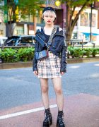 Harajuku Girl Street Style w/ Snidel Leather Jacket, Burberry Plaid Skirt, Never Mind the XU & Marc Jacobs