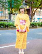 Japanese Yukata Street Style w/ Floral Prints, Striped Obi Belt, Theatre Products Drop Earrings & BayCrew Straw Clutch