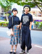 Japanese Duo's Chic Streetwear w/ Azul By Moussy Flap Bag, Christopher Nemeth Outfit, Fifth Ruffle Blouse, Plaid Mermaid Skirt & D'Orsay Flats