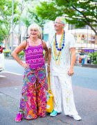 Colorful Street Fashion in Harajuku w/ Geometric Tank Top, Wide Leg Pants & Paint Splattered Clothing