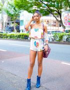 Floral Print Romper, Guess Crocodile Leather Bag & Blue Vintage Boots in Harajuku