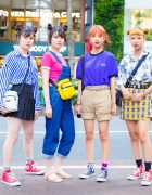 Japanese Teen Girls Street Styles & Matching Twin Buns Hairstyles, Kipling Bag & Converse Sneakers