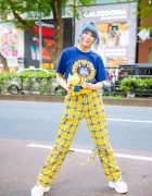 Blue-Haired Harajuku Girl w/ Plush Ugly Doll, One W Oh Top, Yellow Plaid Pants & Yosuke Sneakers