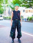 Harajuku Guy w/ Green Hair, M.Y.O.B. Sleeveless Tee, Tripp NYC Pants & Dr. Martens Boots