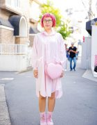All Pink Harajuku Streetwear w/ Pink Bob, Striped Shirt Dress, Pink Boots & Heart-Shaped Crossbody Bag