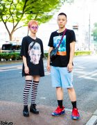 Harajuku Duo in Black Street Casual Looks w/ Heron Preston, Fred Perry, Stranger Things T-Shirt, Raf Simons x Adidas, Jam Home Made & Supreme