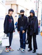Tokyo All Black Streetwear Styles w/ Vetements, GU, Balenciaga, Ambush, Uniqlo, Loco Basic, HI FI FNK, Comme des Garcons, Dior & Maison Margiela