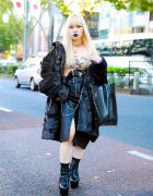 Gothic Japanese Streetwear Style w/ Faith Tokyo, I.Am.Gia, Justin Davis, MYOB NYC Leather Skirt & Crocodile Tote