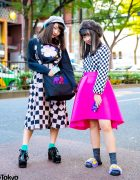 Harajuku Girls Checkered Street Styles w/ RRR By Sugar Spot Factory, Peco Club Sweater, Vintage Skirt, Kangol & PUNYUS Fuzzy Sandals