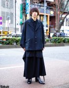 All Black Minimalist Menswear Style w/ Christopher Nemeth Cocoon Coat, Keta Gutmane Long Shirt, Yohji Yamamoto Skirt & Saint Laurent Boots
