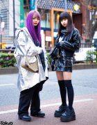 Japanese Teen Streetwear Styles w/ Purple Hair, Romantic Standard, Codona De Moda, Spinns, DYOG, Takaraya & Demonia