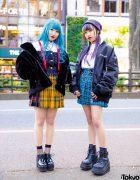 Harajuku Plaid Streetwear Styles w/ Curly Blue Hair, Purple Braids, Plaid Skirts, Evris, Palm Angels, Morph8ne, (ME) Harajuku, Bubbles, Demonia & Vivienne Westwood