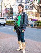 Harajuku Remake & Handmade Street Style w/ Motorcycle Jacket, Dog Harajuku Mohair Sweater, Punk Pants, Tokyo Human Experiments, Dilivee & Vivienne Westwood Boots