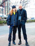 Harajuku Street Styles w/ Bomber Jacket, Long-Sleeved Overalls, Chain Belt, Neck Wallet & Black Sneakers