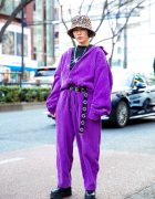 Purple Corduroy Jumpsuit & Leopard Print Hat Harajuku Street Style
