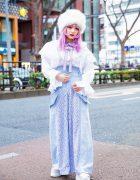 Pastel Harajuku Street Style w/ Pink Hair, Faux Fur Hat, Swankiss, Kaoru Zhou, Ayymatsuura Lace Pants, Bow Necklace & Jeffrey Campbell