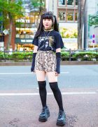Harajuku Girl Streetwear Look w/ Twin Tails, Rob Zombie Shirt, Snakeskin Shorts, Never Mind the XU & Demonia
