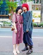 Japanese Teen Duo's Street Styles w/ Red Hair, Rosy Baroque Dress, Comme Des Garcons Shirt, Vintage Suspender Pants, Slip-Ons & Saint Laurent Rive Gauche Boots