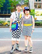 Mixed Prints Fashion in Tokyo w/ Pixel Bead Necktie, Joyrich Overalls, Kinsella Romper, 6%DokiDoki, Colorblock Bag, Dr. Martens & Tokyo Bopper