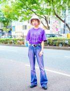 Casual Purple Streetwear Style w/ Blunt Bob, Bucket Hat, Mark Twain T-Shirt, ME Harajuku, Camper & Resale Fashion