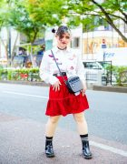 Tokyo Style w/ Twin Buns, Heart Eye Makeup, Tiered Skirt, Sinz Radio Crossbody Bag & Dr. Martens Chelsea Boots