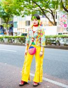 Colorful Harajuku  Street Fashion w/ Green Hair Tips, Little Sunny Bite, RRR Vintage, Oyasumi Club & Dr. Martens Glitter Boots