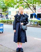 All Black Ruffles Style w/ Yellow Hair, H&M Tassel Earrings, Zara Blouse, Uniqlo Midi Skirt & Tokyo Bopper Cutout Shoes
