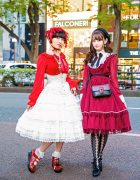 Harajuku Girls' Lolita Fashion w/ Handmade Headdress, Unicorn Plushie, Bow Beret, Angelic Pretty, Abilletage Corset & Celine Colorblock Bag