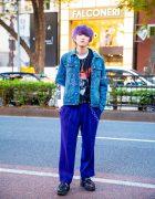 Harajuku Street Style w/ Purple Hair, Chain Jewelry, Remake Denim Jacket, MCM Pants & Yosuke Platforms
