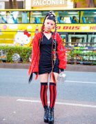 Avant-garde Tokyo Street Fashion w/ Hair Falls, Neuron Nailz, Cropped Jacket, Box Bag & Flame Print Booties