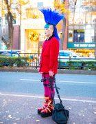 Colorful Harajuku Street Style w/ Tall Mohawk, Blue Lipstick, World's End Blazer, Fishnets, Leg Harness & Vivienne Westwood x Buffalo Platform Strap Boots