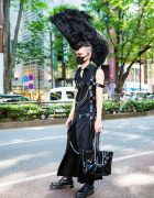 Harajuku Punk Fashion w/ Tall Mohawk, Remake Shirt, Lad Musician Skirt, Dr. Martens Boots, Handmade Body Harness & Vinyl Bag