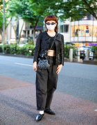 All Black Harajuku Streetwear Style w/ Cat Eye Sunglasses, Tattoos, Moschino Sequin Jacket, Uniqlo Boyfriend Jeans, Zara Cropped Top, Vintage Bead Bag & Pointy Shoes