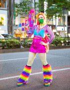 Harajuku Rainbow Fashion w/ Colorful Hair, Inked Doll Cosmetics, Daiso Water Guns, Spencer's, Kol Me Baby Mini Skirt, Handmade Fashion & YRU Rainbow Platforms