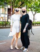 Duo in Black and White Look w/ Heart Glasses, Face Mask, Asymmetrical White Dress, Black Outfit & Backpack