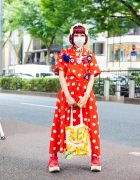 Polka Dots Japanese Street Style w/ Baby, The Stars Shine Bright Bows, Pom Pom Earrings, Handmade Bags & Tokyo Bopper Sneakers