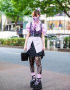 Black & Pink Tokyo Girl Street Style w/ Scarf Face Mask, Polka Dot Skirt, Quilted Box Bag & Demonia Platforms
