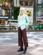 Japanese Mullet Hairstyle in Harajuku w/ Ralph Lauren Shirt, Vintage Pants, Dr. Martens Lace-Up Boots & Silver Jewelry