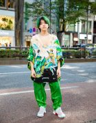 Tokyo Streetwear Style w/ Green Hair, Pinky & Dianne Necklace, Printed Tunic, Patterned Pants & Comme des Garcons Homme Plus x Nike Air Presto Sneakers