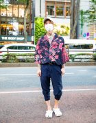 Japanese Host Streetwear Style w/ White Cap, Tattoos, Mismatched Earrings, Cherry Blossom Shirt, Jogger Pants & Crocs Slip-Ons