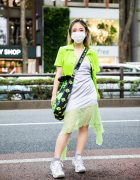 Harajuku Girl's Resale Streetwear Style w/ Butterfly Hair Clips, Collared Blouse, Satin Slip Dress, No Dress Crossbody Bag & Z-Coil Sneakers