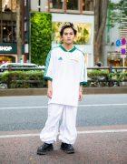 Student in Harajuku Sports Style w/ Septum Ring, Gosha Rubchinskiy X Adidas Football Shirt, US Snow Pants, Eytys Zippered Shoes & Vintage Accessories
