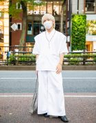 All White Tokyo Menswear Street Style w/ Bleached Hair, Rosary Necklace, Sasquatchfabrix Tunic, UNIQLO Wide Pants, Dog Harajuku, WEGO Snakeskin Tote & Roker Square Toe Boots