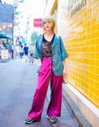Colorful Tokyo Street Style w/ Pastel Hair, Vintage Rings, Heart Drop Earrings, RRR Satin Pajama Setup, Mikio Sakabe, UN3D Tote Bag & Keen Footwear Paracord Sneakers