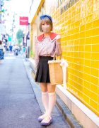 Harajuku Style w/ Fringed Bob, Birdcage Veil, Double-Breasted Plaid Blouse, Pleated Skirt, Woven Tote Bag & Grounds by Mikio Jewelry Sneakers