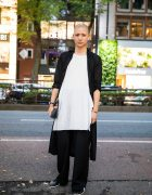 Yohji Yamamoto Pour Homme Monochrome Menswear Style w/ Shaved Head, Long Cardigan, Minimalist Jewelry, Loewe Leather Clutch & Onitsuka Tiger Sneakers