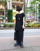 All Black Street Look in Tokyo w/ Bucket Hat, Never Mind the XU Accessories, Ground Y Shirt, Faith Tokyo Monogram Tote & Eytys Ultra Chunky Halo Sneakers