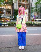 Pink-Haired Kinji Staffer in Tokyo w/ Romantic Standard Charm Necklace, Angel Blue Layered Tops, Handmade Disney Princesses Skirt, Savers Butterfly Pants, WEGO, 6%DokiDoki & Nike Sneakers