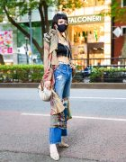Harajuku Girl in Ripped Jeans Fashion w/ Lace Tube Top, GYDA Ripped Jeans, Resexxy Heels, Vivienne Westwood Bag, Louis Vuitton and Coach Accessories