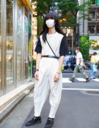 Monochromatic Street Style w/ Homme Plissé Issey Miyake Overalls, Hatra Crossbody Bag, Lad Musician Shoes & Dior, Jil Sander, Tiffany & Co. Accessories